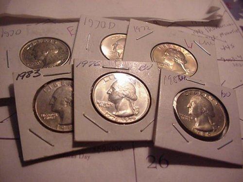 6-unc..quarters 1970,70d,72,76,80.83