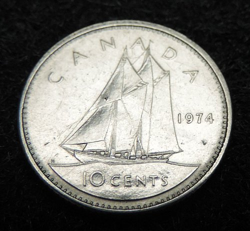 1974 Canadian 10 Cent Dime KM#77.1 1969-1978 Very Good Condition