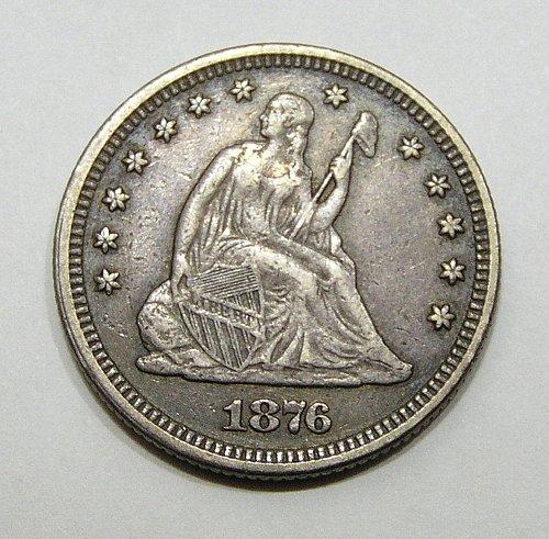 1876 Seated Liberty Quarter - VF