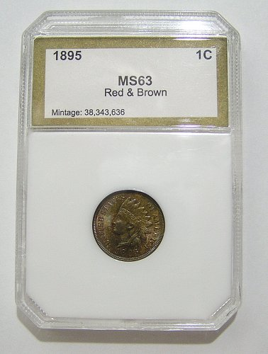 1895 Indian Head Cent - MS63 Red & Brown