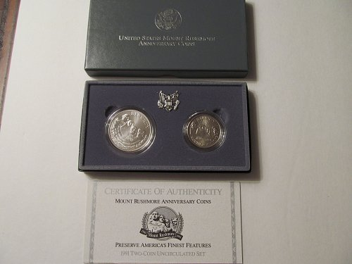 1991 Mount Rushmore Anniversary two-coin set