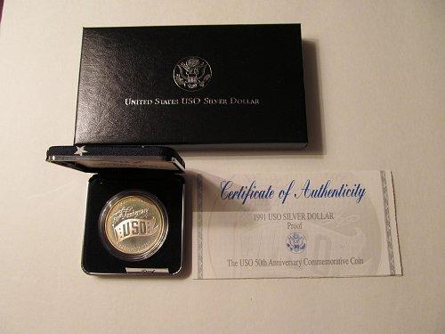 1991 USO 50th Anniversary Commemorative Silver Dollar