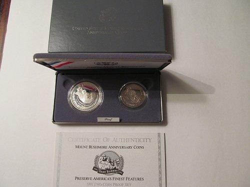 1991 Mount Rushmore Anniversary two-coin proof set