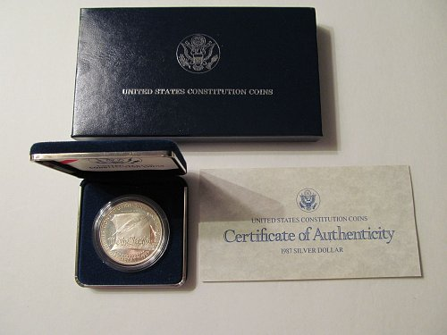 1987 United States Constitution proof silver dollar