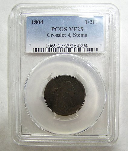1804 Draped Bust Half Cent - Crosslet 4 Stems - graded VF25 by PCGS