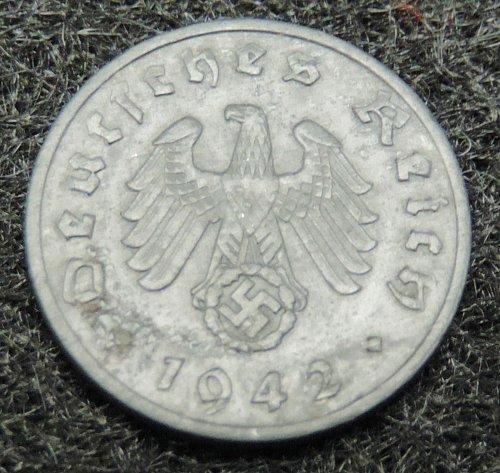 1942 A German 1 Cent Reichsphennig KM#97 1940-1945 Very Good Condition Berlin
