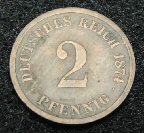 1874 Germany Empire 2 Cent pfennig KM#2 1873-1877 Good Condition C or G