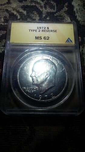 1972 Eisenhower Dollar Type 2 Reverse Rare FS 901 MS62