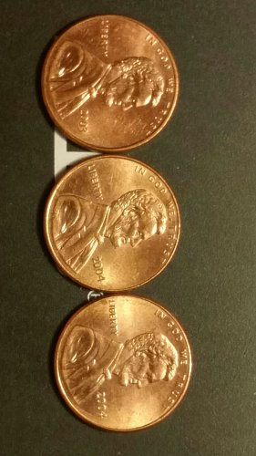1-2003and2-2004-P double die reverse pennies