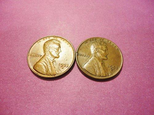 2-unc pennys 1953 D & S
