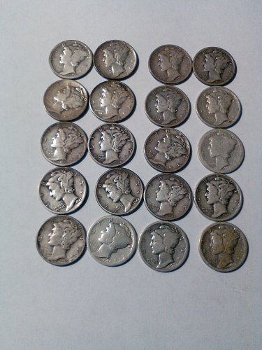 LOT OF 20 MERCURY DIMES