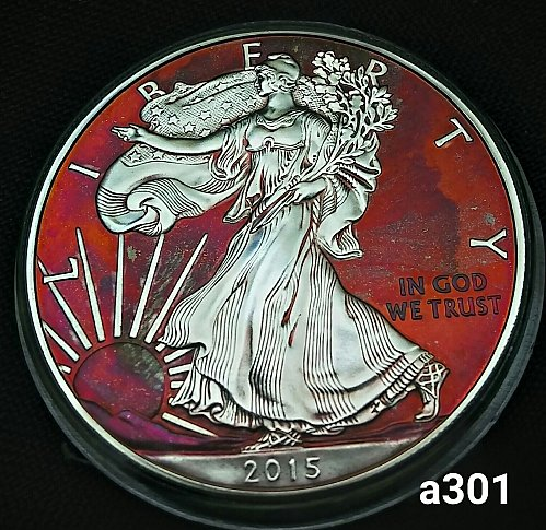 2015 Rainbow Toned Silver American Eagle 1 troy ounce silver #a301