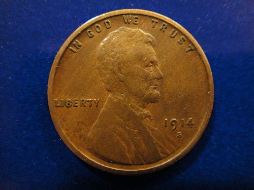 "1914-S Lincoln Cent Very Fine-30 Nice Crisp ""S"" Mintmark & Sharp Wheat Lines!"