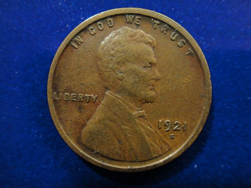 1921-S Lincoln Cent Very Fine-20 Nice Strong Strike For Date