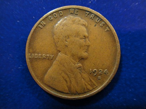 1924-S Lincoln Cent Very Fine-25 Milk Chocolate Brown With Strong Strike!