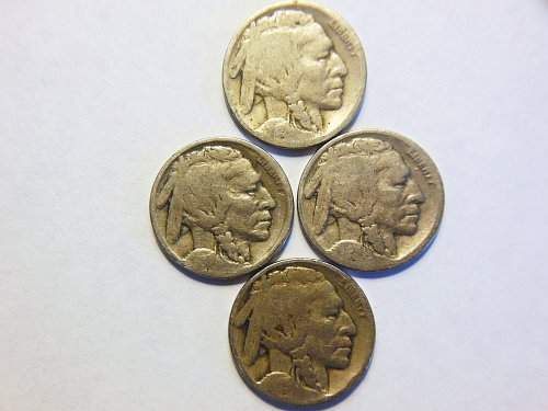 Group of 4 Buffalo Nickels, 1918, 1919, 1923 and 1925