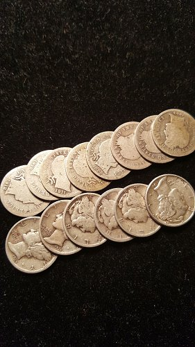 Lot of 14 Silver Dimes 8 Barber Dimes 6 Mercury Dimes