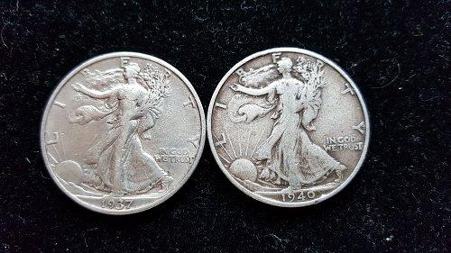 Lot of 2 Walking Liberty Half Dollars 1937 S and 1940 S