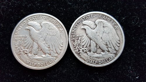 Lot of 2 Walking Liberty Half Dollars 1937 S and 1940 S