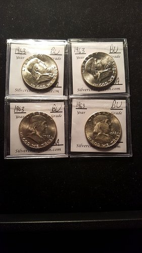 Group of 4 1963 P BU Silver Half Dollars