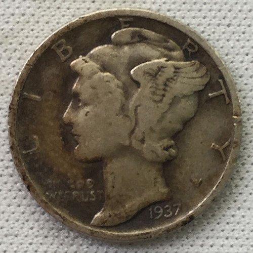 1937 P Mercury Dime - Toned
