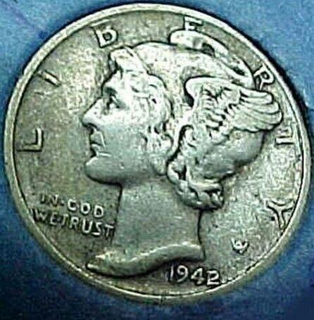 1942 Over 41 D Mercury Dime