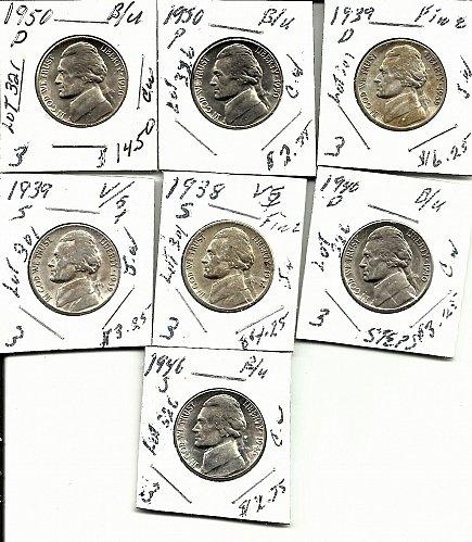 Key Date Jefferson Nickels  1950D BU/ 1950PBU/1939D Fine/ 1939S/Fine/1938S fine/
