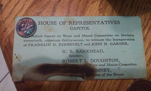 Innaguration card Roosevelt + 1961 P Roosevelt dime