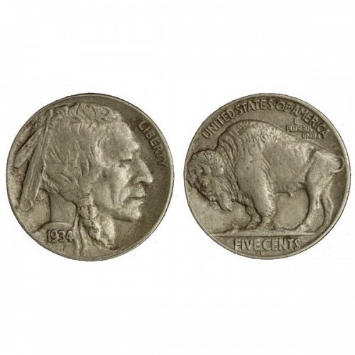 1934 D Buffalo Nickel - AU