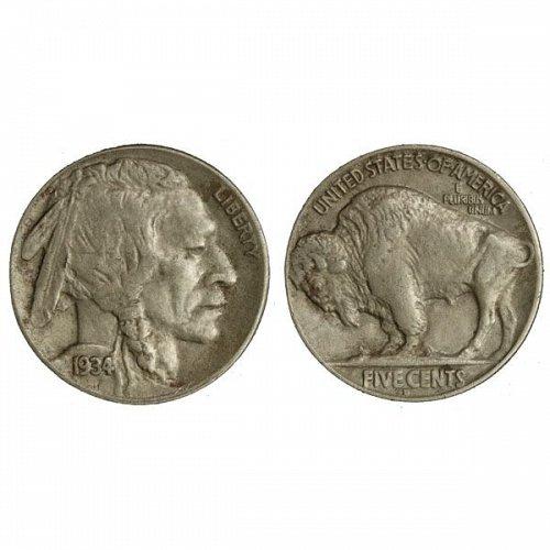 1934 D Buffalo Nickel - AU