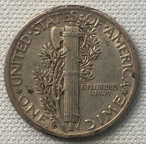 1936 D Mercury Dime - Toned