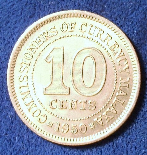 1950 Malaya 10 Cents AU