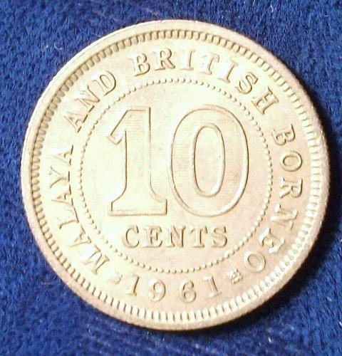 1961 Malaya and British Borneo 10 Cents AU+