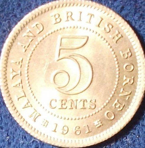 1961 Malaya and British Borneo 5 Cents UNC