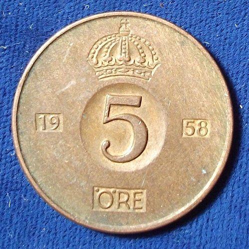 1958 Sweden 5 Ore AU