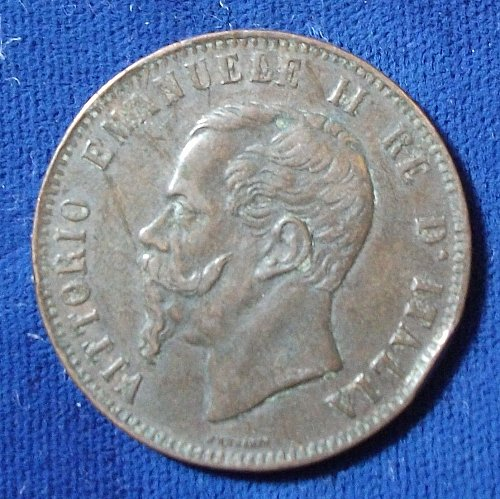 1867N Italy 10 Centesimi VF+