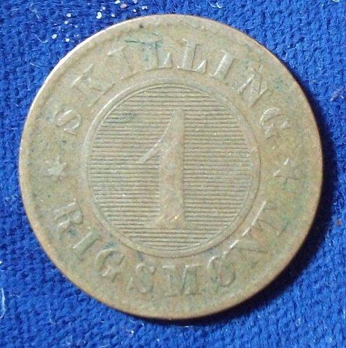 1856(o) Denmark Skilling Rigsmont FINE