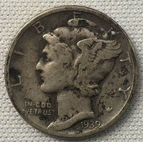 1939 P Mercury Dime - Toned