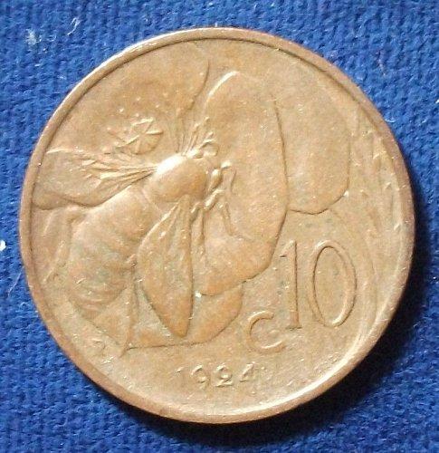 1924 Italy 10 Centesimi AU