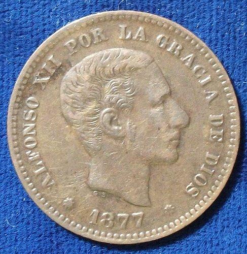 1877OM Spain 5 Centimos XF