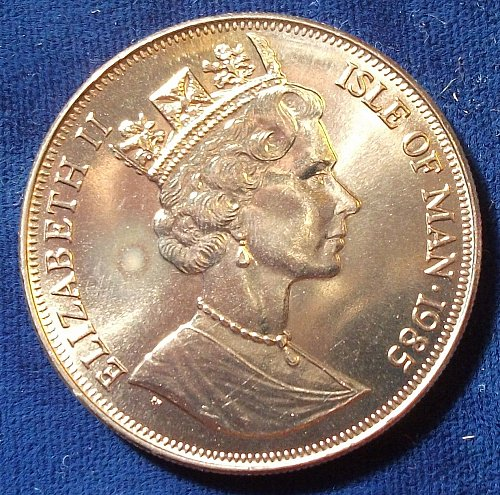 1985 Isle of Man Crown 1985 UNC, The Queen Mother