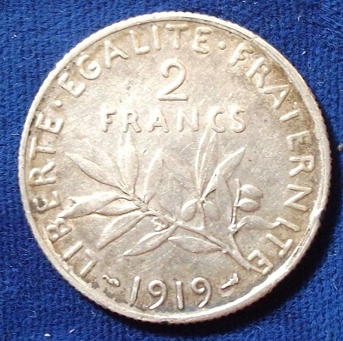 1919 France 2 Francs AU