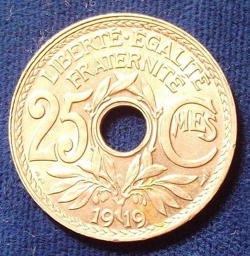 1919 France 25 Centimes BU