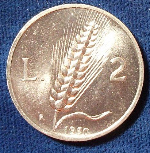 1950 Italy 2 Lire UNC