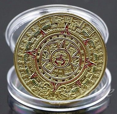 Gold Plated Mayan Aztec Prophecy Calendar Commemorative Coin