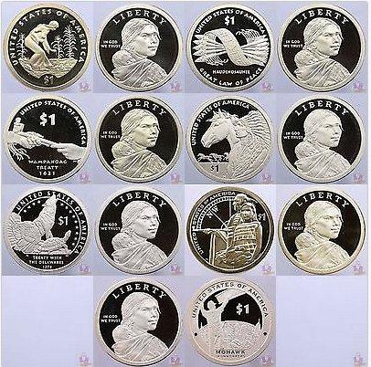 2009-2015 S Native American Sacagawea Proof Dollar Run 7 Coin Set