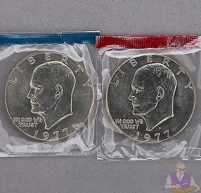 1977 P D Eisenhower BU Dollars US Mint Cello 2 Coin Ike Set