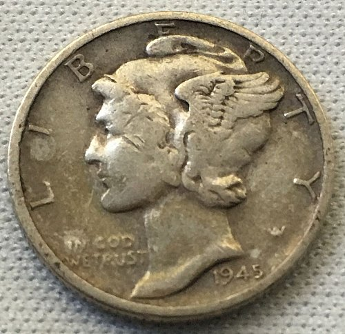 1945 D Mercury Dime - Toned
