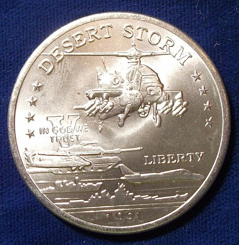 1991 Hutt River Province $5 BU, Desert Storm  AH-64 Apache Attack Helicopter