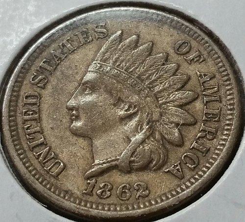 1862 Indian Head Cent - AU ~ Snow 4